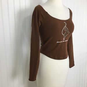 2 for $10 baby phat brown cropped top stretch S